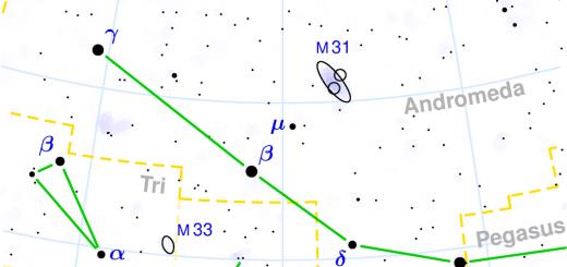 Mappa della costellazione di Andromeda