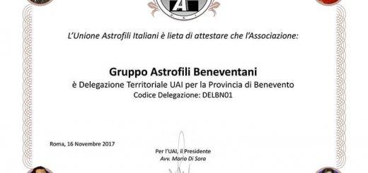 attestato G.A.B. delegazione UAI Benevento